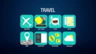 Travel icon set animation video