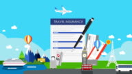 Travel Insurance for world travel, tour. air ticket. illustration animation video