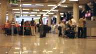 Traveler Crowd at Airport Check In Counter Hall time lapse video