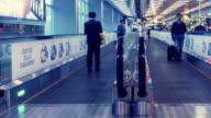 Traveler Crowd at Changi Airport Escalator, Singapore. Time lapse video