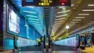 4K T/L : Traveler Crowd at Changi Airport escalator, Singapore video