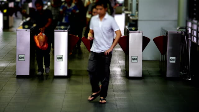 Traveler crowd in bus station video