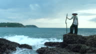 Traveler Woman On Coast With Cloudy Sky Background video