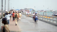 Travelers walking on port to find their destiny. video