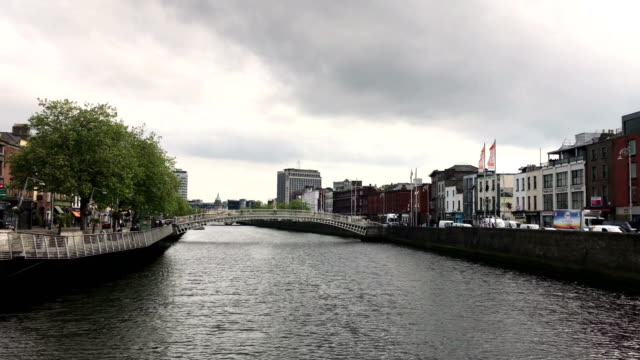 Traveling down a river in downtown in Dublin Ireland during overcast day video