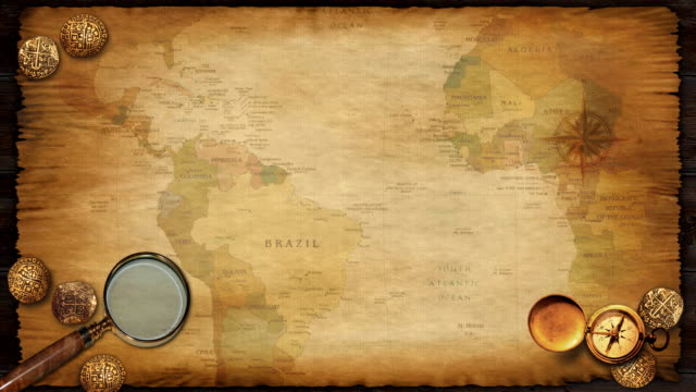 Treasure Map Background Loop with Continents Passing By. video