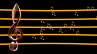 Treble clef musical notes moving Low tempo Staff video