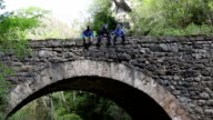 tree explorers sitting and talking on an old bridge in nature video