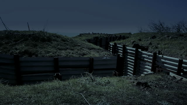 Trenches in the field at night video