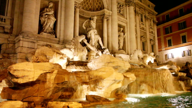 Trevi Fountain by night, Rome, HD1080p video