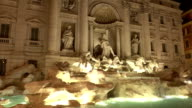 Trevi Fountain in Rome - beautiful night view video