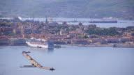 Trieste seaside and dock in spring video