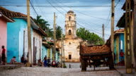 Trinidad Cuba Street Scene with Church of Santa Ana video