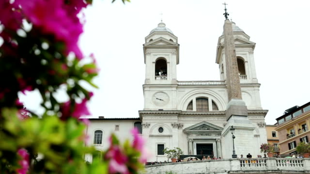 Trinita dei Monti Church from Spanish Steps in Rome video
