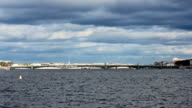Trinity Bridge across the Neva River, timelapse video