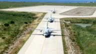 Trinity military aircrafts CASA CN-235M get ready to formation flight video