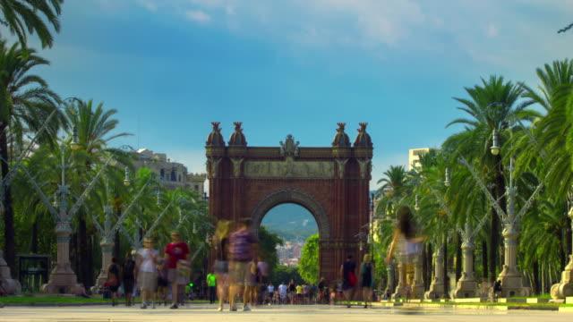 Triumphal arch Barcelona. City landscape. Time lapse of triumph arc in Barcelona video