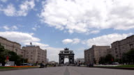 Triumphal Arch of Moscow on Victory Square against blue sky video