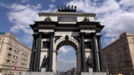 Triumphal Arch on Victory Square, dolly approach and look up video