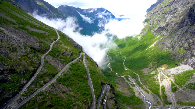 Troll's Path Trollstigen or Trollstigveien winding mountain road. video