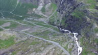 Trollstigen pass in Norway, aerial footage video