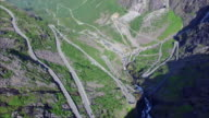 Trollstigen pass in Norway, aerial top-down view video