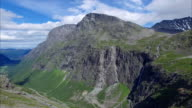 Trollstigen pass in Norway, aerial view video