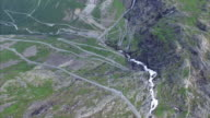 Trollstigen pass in Norway seen from air video