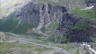 Trollstigen pass road, aerial footage video