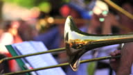 Trombone Players In Open Air Concert Closeup video