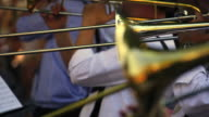 Trombone Players On Open Air Concert Close-up video
