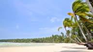 Tropical beach, sea water, blue sky video