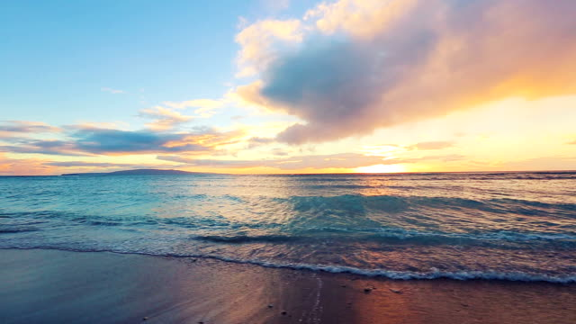 Tropical Beach Sunset. Smooth Gliding Steadicam Motion video