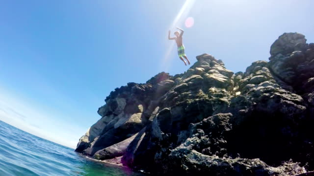 Tropical Cliff Jumping into Blue Ocean. video