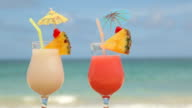 Tropical cocktails at beach video