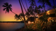 Tropical island beach bar and restaurant at sunset, Fiji. video