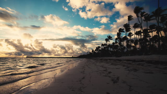 Tropical island beach sunrise. Punta Cana. Dominican Republic. video