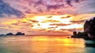 Tropical lagoon sunset timelapse video