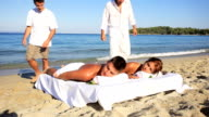 Tropical massage on the beach. video