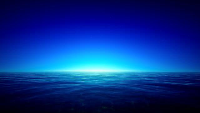 Tropical ocean at night video