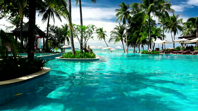 Tropical resort with swimming pool and ocean view video