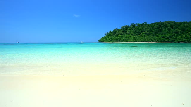 Tropical sand beach Koh rok andaman sea southern of Thailand. video