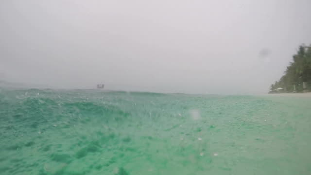 SLOW MOTION CLOSE UP: Tropical storm in exotic island video