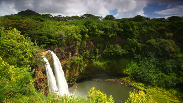 tropical Wailua Falls, kauai, hawaii video