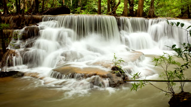 Tropical Waterfall in Forest panning and long exposure Technique Time-Lapse video
