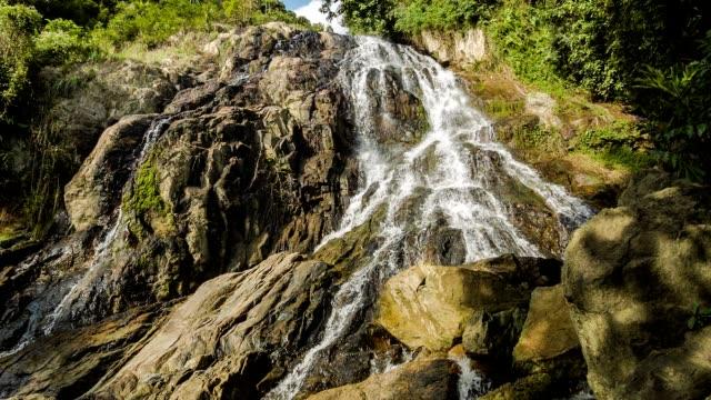 Tropical waterfall in rocks video
