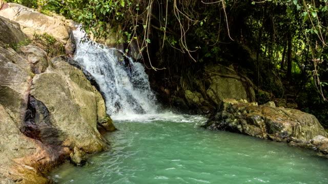 Tropical waterfall with mini lake loop video