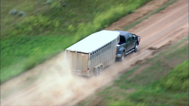 truck with horsebox - Aerial View - South Dakota,  Perkins County,  United States video