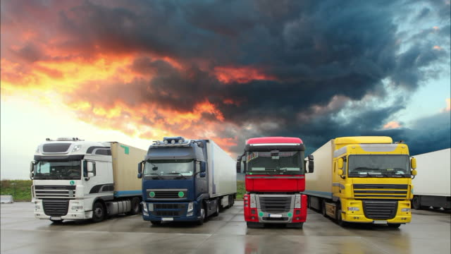 Trucks at sunset - Time lapse video