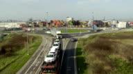 WS AERIAL Trucks Leaving The Port Of Koper video